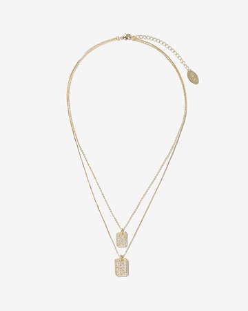 Luv Aj Pave Double Dog Tag Necklace | Express