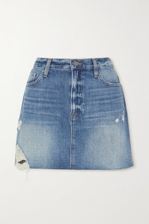 Light denim Le Mini distressed denim skirt | FRAME | NET-A-PORTER
