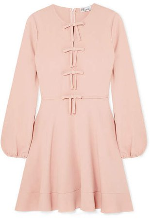 Bow-detailed Crepe Mini Dress - Pink