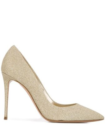 Gold Casadei glittered pumps - Farfetch