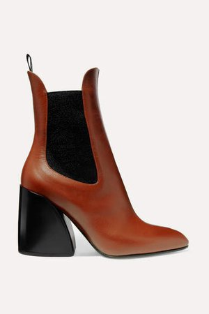 Wave Leather Ankle Boots - Tan