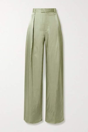 Pleated Satin-twill Wide-leg Pants - Army green