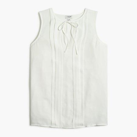 Petite sleeveless pleated tie-neck top