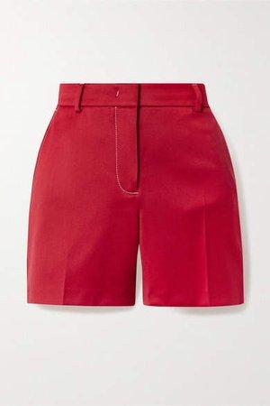 Sienna Wool-twill Shorts - Red