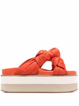 Shop orange GANNI recycled satin knotted flatform sandals with Express Delivery - Farfetch