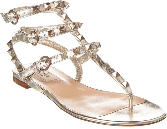 Rockstud Caged Leather Thong Sandal