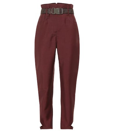 High-rise mohair and wool pants