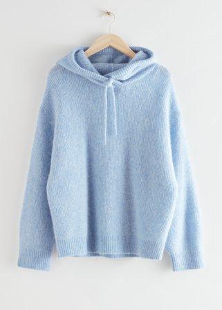 Ribbed Wool Blend Hooded Sweatshirt - Light Blue - Sweatshirts & Hoodies - & Other Stories
