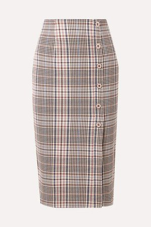 Melor Checked Cotton-blend Midi Skirt - Brown