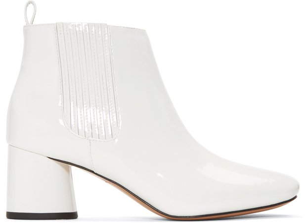 Marc Jacobs White Patent Rocket Chelsea Boots