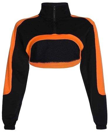 orange and black crop top