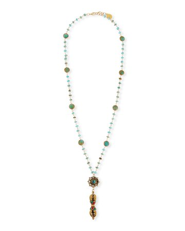 """Devon Leigh Turquoise & Coral 32"""" Long Pendant Necklace"""