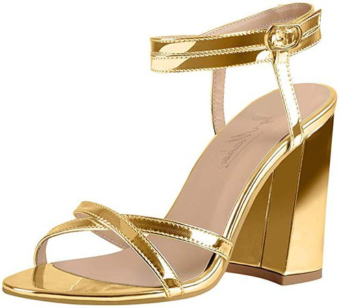 Amazon.com | Onlymaker Women's Double Ankle Strappy Open Toe Heeled Sandals Chunky Block Heel Cross Band Summer Shoes for Dress Party Banquet Gold Big Plus Size 12 | Heeled Sandals