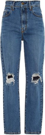 Bessette Distressed High-Rise Slim-Leg Jeans