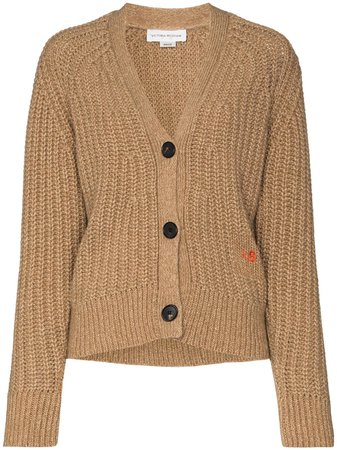 Victoria Beckham logo-embroidered ribbed-knit Cardigan - Farfetch