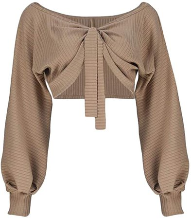 Women Sexy Off Shoulder Long Sleeve Crop Top Tie Up Front Blouse Shirt Size M (Khaki) at Amazon Women's Clothing store