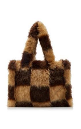 Liz Check-Print Faux Fur Tote By Stand Studio   Moda Operandi