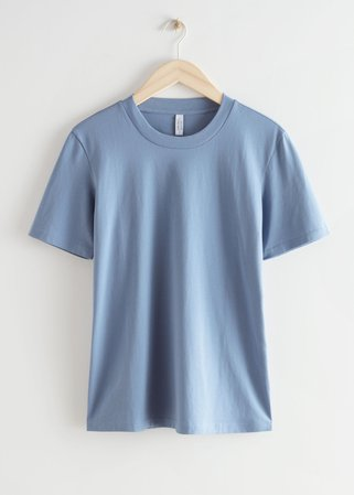 Crewneck Cotton T-Shirt - Blue - Tops & T-shirts - & Other Stories