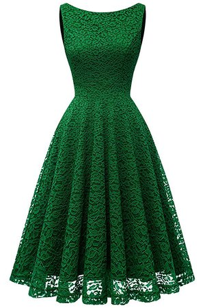 Bbonlinedress Women's Short Floral Lace Bridesmaid Dress V-Back Sleeveless Formal Cocktail Party Dress Green S at Amazon Women's Clothing store:
