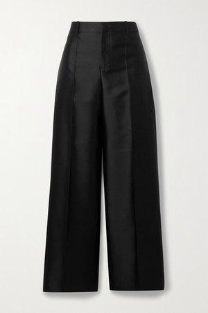 Wool And Silk-blend Satin Straight-leg Pants - Black