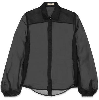 MATIN - Silk-organza Shirt - Black