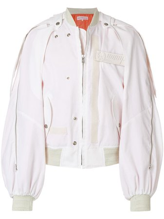 Walter Van Beirendonck Deconstructed Balloon-Sleeved Bomber Jacket 3007BOMBERBAYOMBE White | Farfetch