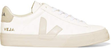 Campo Vegan Suede-trimmed Leather Sneakers - White