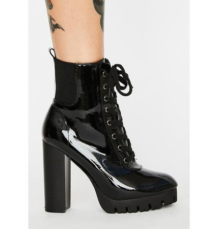 Patent Chunky Heel Boots