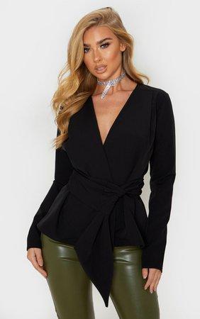 Black Puff Sleeve Belt Detail Blazer   PrettyLittleThing