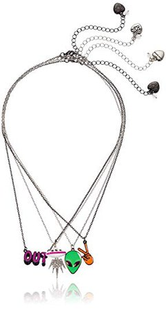 "Betsey Johnson ""Alien & UFO"" Pendant Necklace Set, Neon Multi, One Size: Clothing"