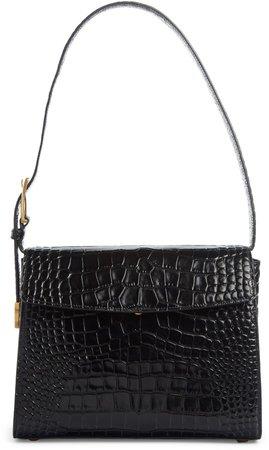 Croc Embossed Calfskin Leather Shoulder Bag