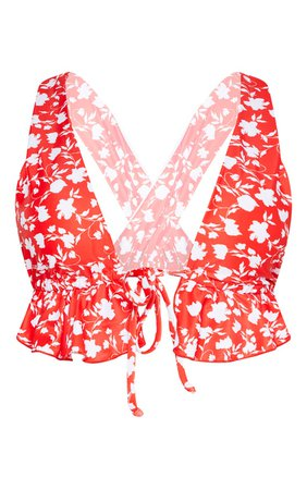 Red Floral Tie Front Frill Plunge Bikini Top   PrettyLittleThing USA