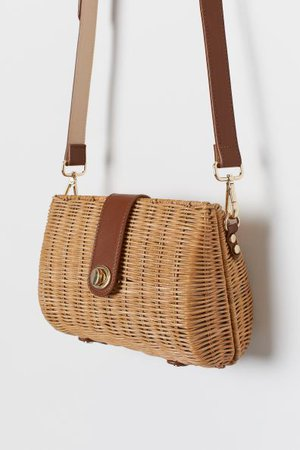 Rattan Shoulder Bag - Beige/brown - Ladies | H&M US