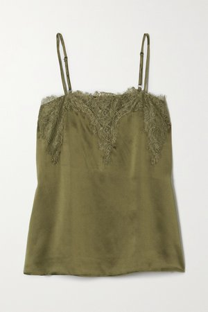 Green The Sweetheart lace-trimmed silk-charmeuse camisole | Cami NYC | NET-A-PORTER