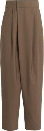 Low Classic Pleated Wool Wide-Leg Pants