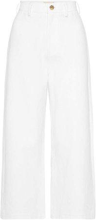 St. Agni Jerry Cotton-Linen Cropped Straight-Leg Pants