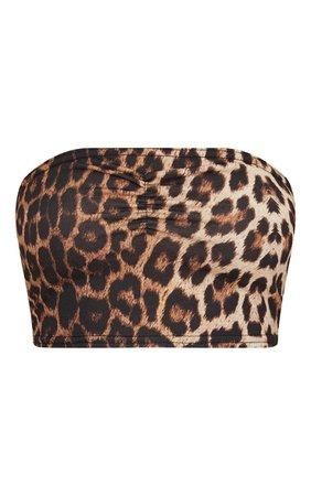 Tan Leopard Print Jersey Bandeau Crop Top | PrettyLittleThing USA