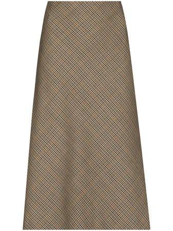 Maison Margiela Houndstooth Wool Midi Skirt - Farfetch