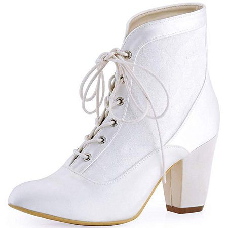 Amazon.com   ElegantPark HC1528 Women Closed Toe Chunky Heel Lace Up Satin Lace Wedding Bridal Boots Ivory US 8   Ankle & Bootie
