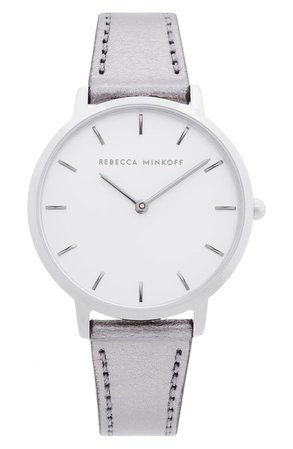 Rebecca Minkoff Major Metallic Leather Strap Watch, 35mm   Nordstrom