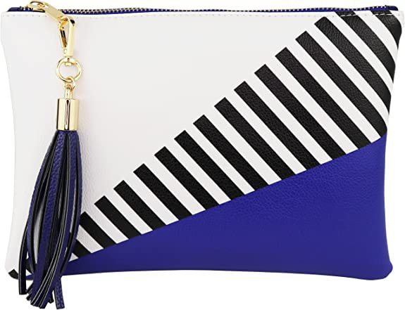 Blue and black and white stripes clutch