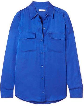 Signature Satin Shirt - Blue