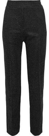 Metallic Stretch-knit Tapered Pants