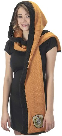 Amazon.com: elope Harry Potter Hufflepuff Knit Hooded Scarf Yellow: Clothing