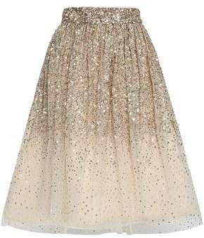 Flared Embellished Degrade Tulle Skirt