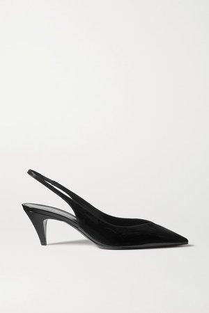 Kiki Patent-leather Slingback Pumps - Black