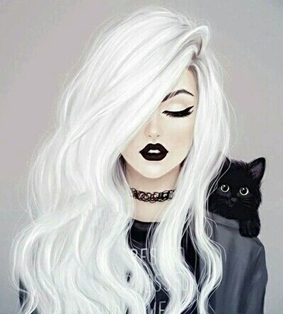 drawing of girl with white hair - Google Search