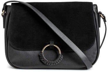 Shoulder Bag with Suede Detail - Black
