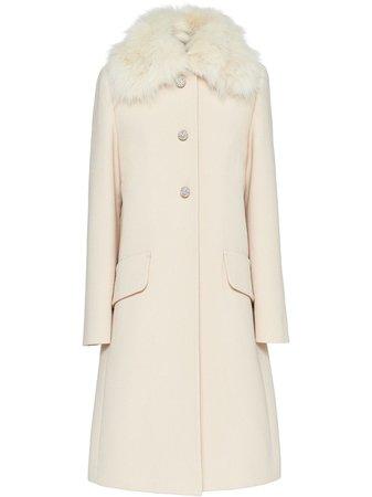 Miu Miu Fur Collar Single Breasted Coat