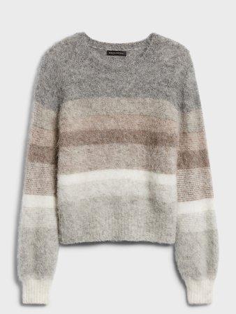 Fuzzy Ombré Stripe Sweater | Banana Republic